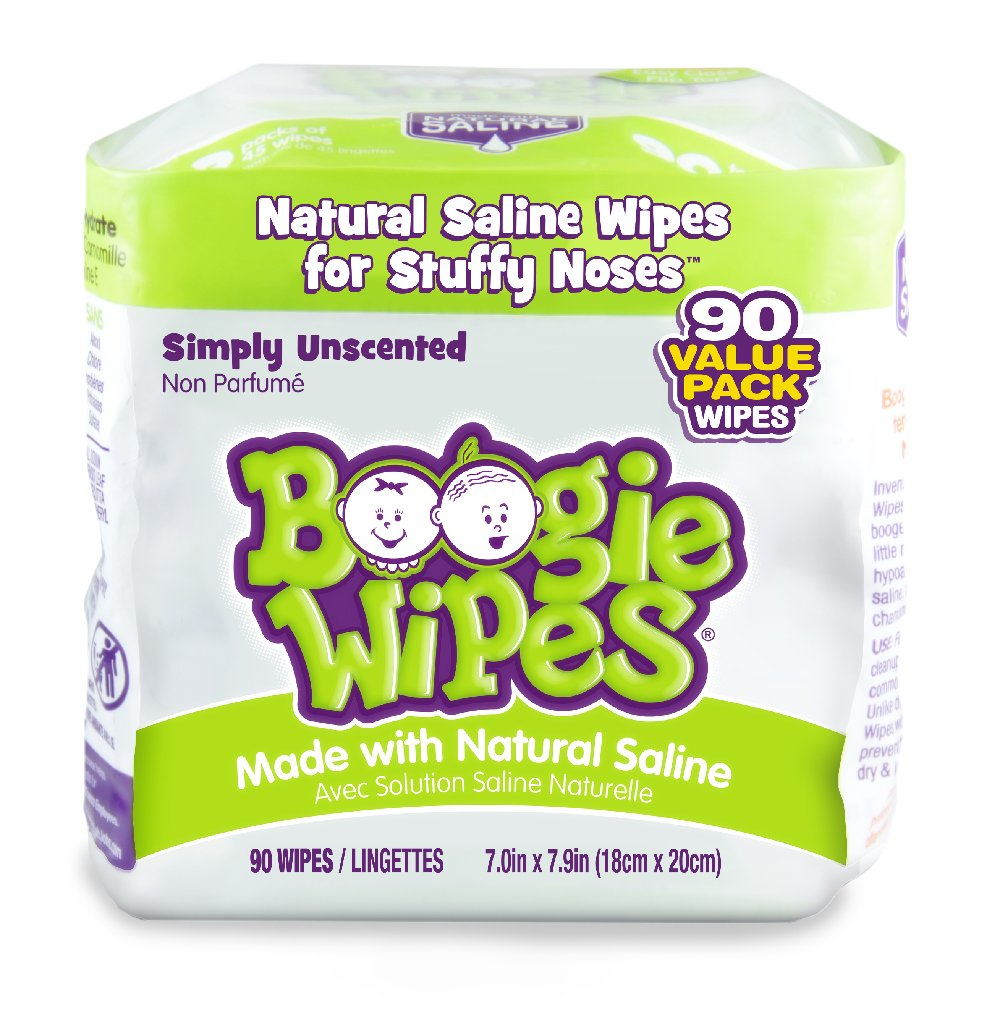 Boogie Wipes Soft Natural Saline Wet Tissues for Baby and Kids Sensitive Nose, Hand, and Face with Moisturizing Aloe, Chamomile, and Vitamin E, Unscented, 45 Count (Pack of 2) SYNCHKG055963