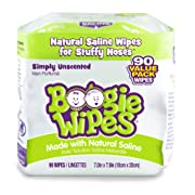 Boogie Wipes Soft Natural Saline Wet Tissues for Baby and Kids Sensitive Nose, Hand, and Face with Moisturizing Aloe, Chamomile, and Vitamin E, Unscented, 45 Count (Pack of 2)