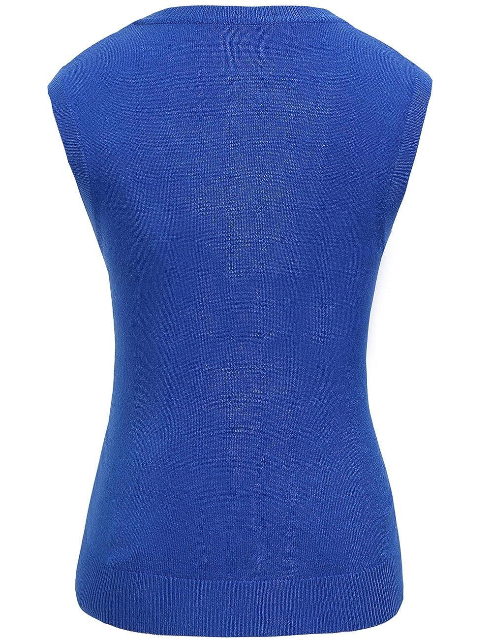 Medium, Blau Camii Mia Damen Pullunder Strick Weste V-Ausschnitt Einfarbig f/ür Business und Freizeit