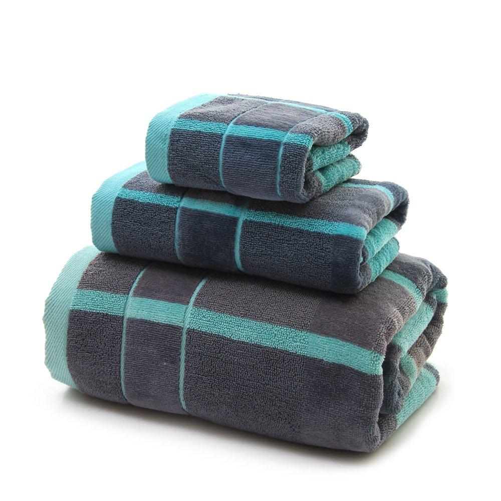 VANWEIDI Hotel & Spa Quality Bath Towel Set - 100% Cotton - Super Absorbent Weave - Luxuriously Soft - 3 Piece (Blue)