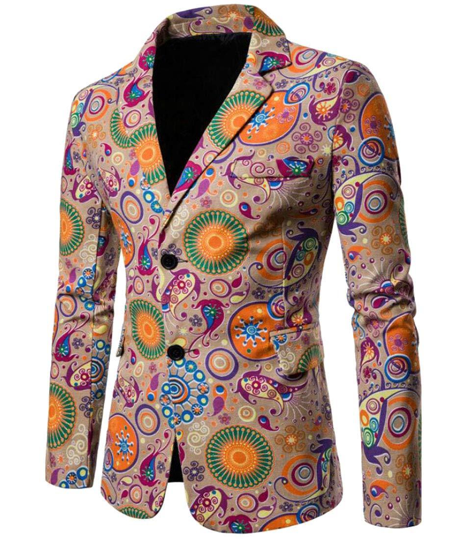 Domple Men's Fashion Button Up Dashiki African Print Pockets Blazer Suit Jackets 1 XL