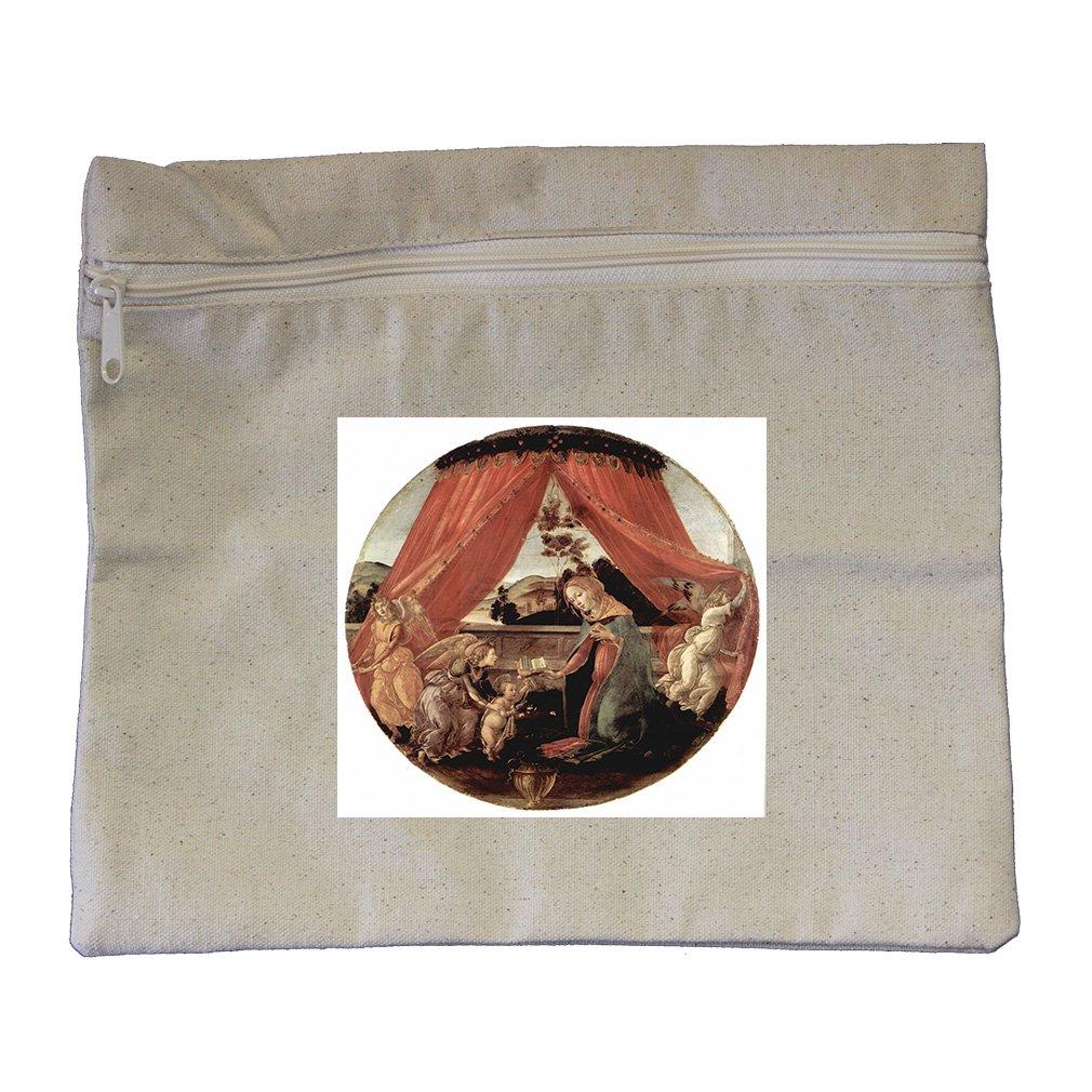 Maria Christ Child 3 Angels (Botticelli) Canvas Zippered Pouch Makeup Bag