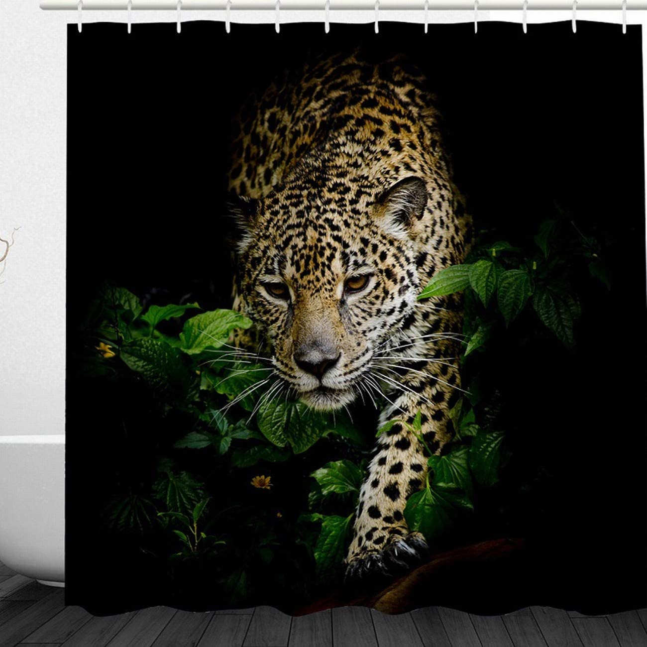 "Leopard Shower Curtain Set 3D Cheetah Print Bathroom Decor with Hooks 71/""x71/"""