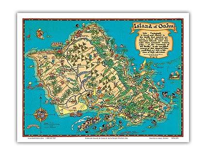 Island Of Oahu Map Amazon.com: Hawaiian Island of Oahu Map   Vintage Hawaiian Colored