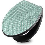 banjado Design Toilettensitz in Anthrazit | WC-Sitz Holz MDF 42,3x3,5x37,5cm | Klodeckel mit Edelstahl Scharnieren | Toilettendeckel mit Motiv Knoten Türkis