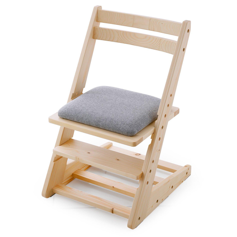 LOWYA (ロウヤ) 木製チェア 学習チェア 座面5段階昇降 天然木 ファブリック座面 ランドセル収納可能 キッズ家具 ナチュラル/グレー おしゃれ 新生活 B0728H443Z   チェア単品