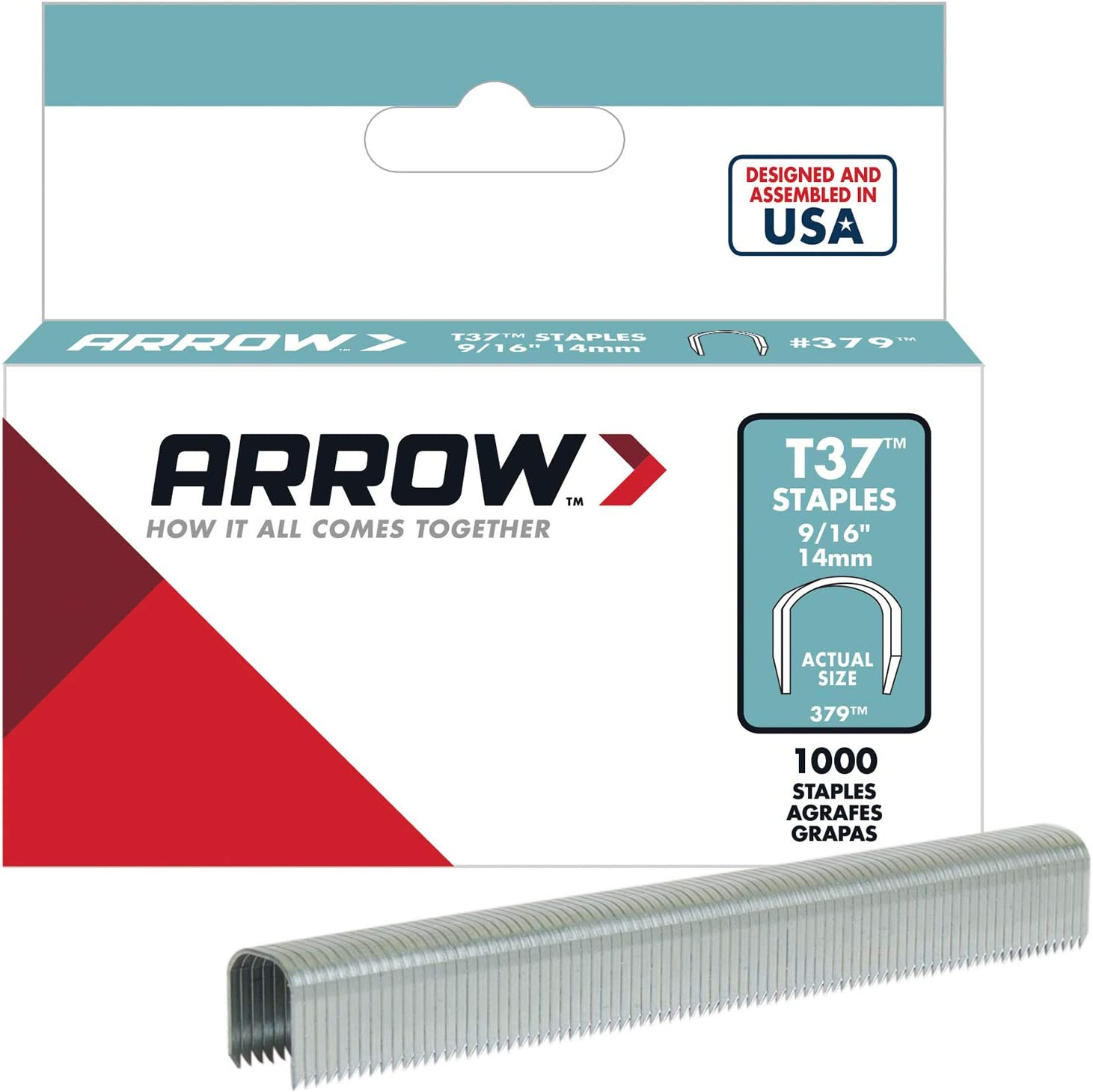 T37 9//16-inch Staples 3,000 Arrow T37 Round Crown Staple Wire//Cable Tacker,