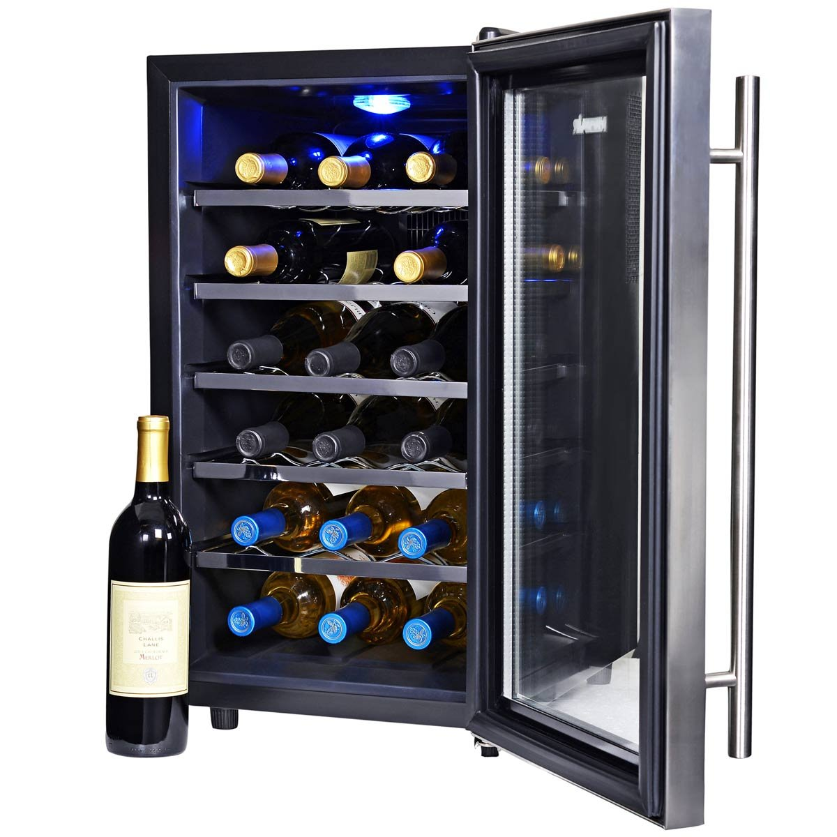 AW-281E Stainless Steel with Glass Door NewAir Wine Cooler and Refrigerator 28 Bottle Freestanding Wine Chiller Fridge