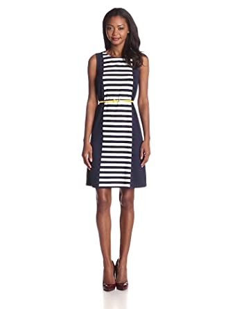 Anne Klein Women's Stripe Sleeveless Belted Dress, Midnight/Camellia, X-Small