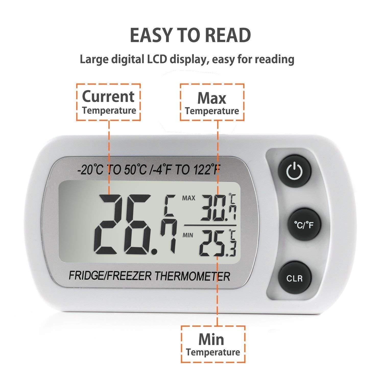 Compra Unigear Termómetro Digital De Frigorífico Temperatura Maxima Y Minima Cocina en Amazon.es