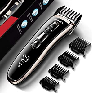 Hair Clippers Home Barber Gift Kit, JOMARTO Cordless Electric Clipper, Hair Trimmer with Cutting Combs, Adjustable Frequency, USB Rechargeable, LCD Display, Support Fast Charge for Professional Style