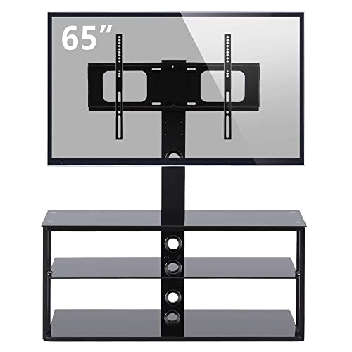 Rfiver Floor Tall TV Stand with Swivel Mount Bracket 3-in-1 for TVs up to 65 Flat Panel or Curved Screen TVs, Weight Capacity 110 Lbs, Black