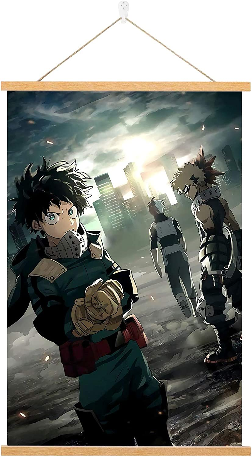 SEAREE My Hero Academia Poster - Anime Wall Scroll Poster - 16 x 24in Hd Canvas Hanging Paintings Wall Art Decor,with 16Inch Powerful Magnet Wood Poster Hanger and Seamless Hook.