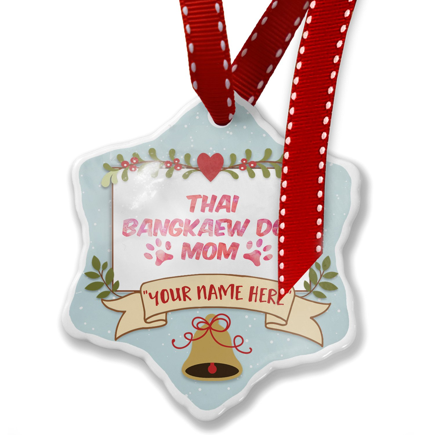 Add Your Own Custom Name, Dog & Cat Mom Thai Bangkaew Dog Christmas Ornament NEONBLOND by NEONBLOND
