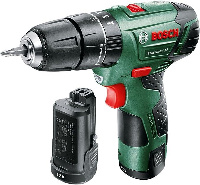 15 Punte Metallo Legno Muro 0 W Bosch 060398390E Trapano Battente-Avvitatore EasyImpact 12 con 2 Batterie Verde 12 V 2607019675 X-Line Set Mini
