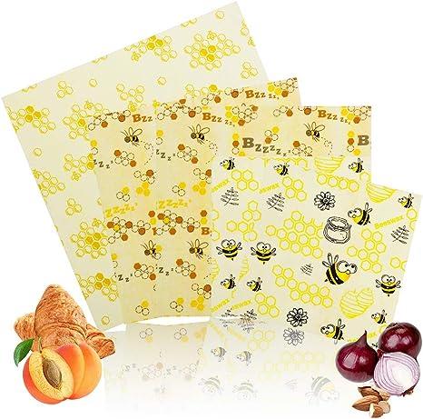 peque/ños Biosso Juego de 6 pa/ños de cera de abejas reutilizables para conservar alimentos almacenamiento sostenible para alimentos biodegradables medianos y grandes con cera de abeja y algod/ón