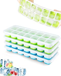 Ice Cube Tray, 4 Pcs Silicone Ice Cube Tray Easy-Release, Durable and Dishwasher-Safe with BPA&Ordor-Free PP, Stackable Ice Trays with Spill-Proof Lid Save Space, for Freezer, Drinks, Dessert, Cooling