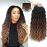"Eliza Wavy Gypsy Locs Ombre Crochet Hair 18"" 8Packs/Lot Goddess Locs 100% Kanekalon Fiber Faux Locs African Roots…"