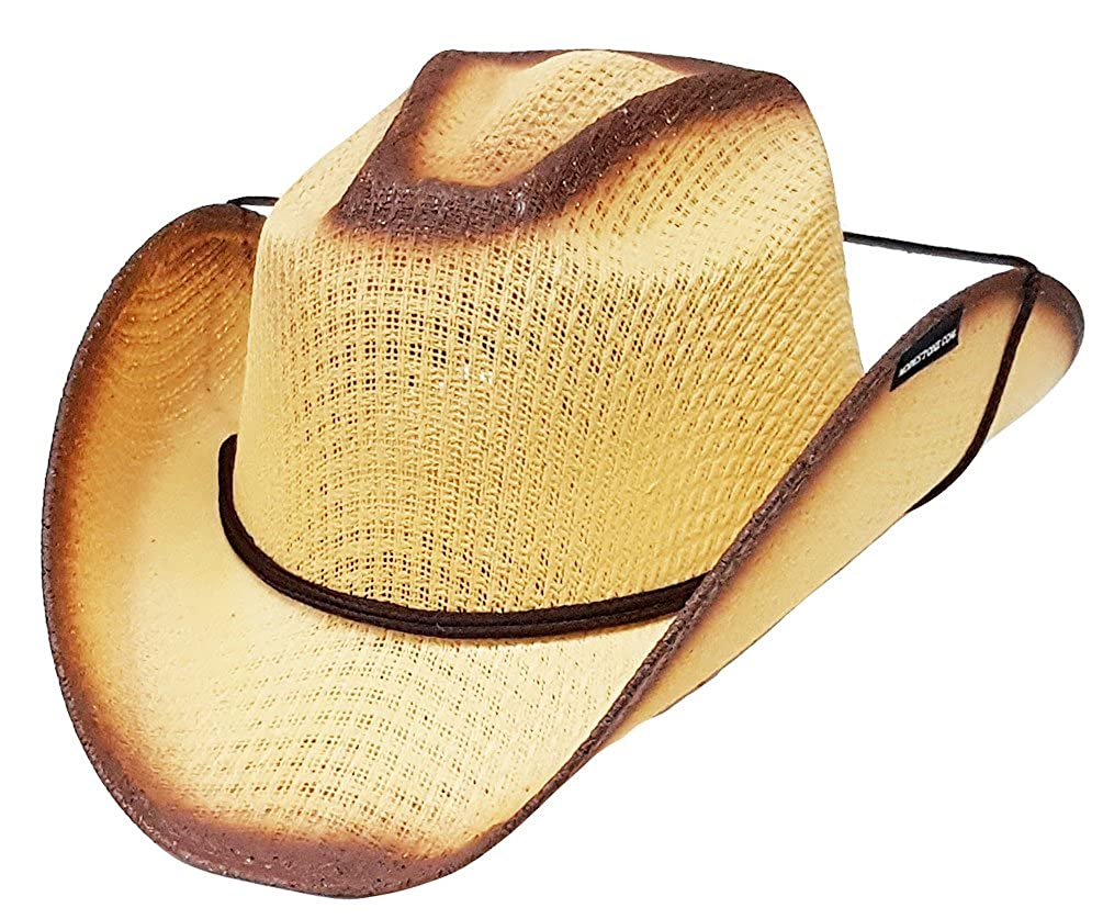 0e75a01bd5c2ef Modestone Boy's Straw Cowboy Hat Chinstring Beige: Amazon.co.uk: Clothing