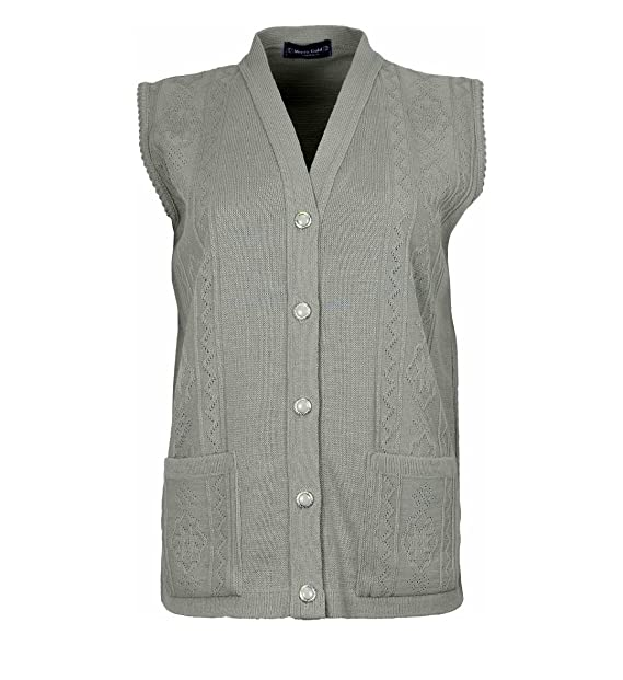 6f711c8aa4a90 Loire Couture New Ladies Womens Ribbed Knitted Pocket Waistcoat Sleeveless  Cardigan Beige  Amazon.co.uk  Clothing
