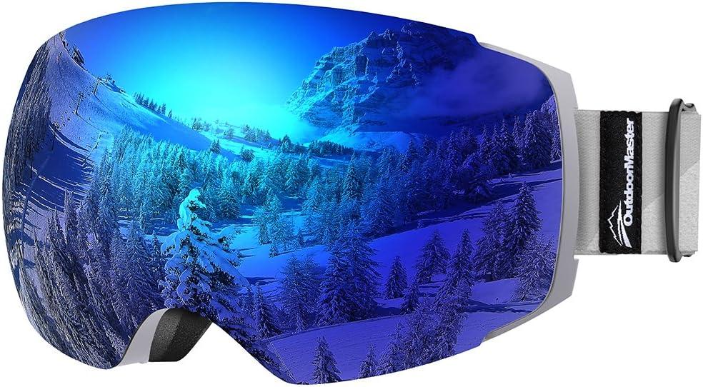 OutdoorMaster Ski Goggles Pro - Sin Marco, Lentes Intercambiables 100% UV400 Protección Gafas de Nieve para Hombres y Mujeres