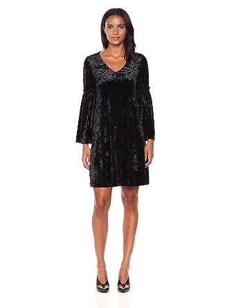 ab9e78eced97 Karen Kane Women's Velvet V-Neck Bell Sleeve Dress at Amazon Women's ...