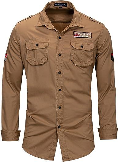 VANVENE Camisa de manga larga para hombre, estilo militar, de ...