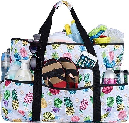 8 Pocket Utility Tote Blue White Pineapple Shopping Beach Tote Bag NEW