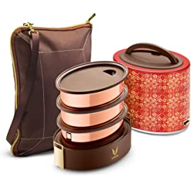 Vaya Tyffyn 1000ml Zari Copper Containers with Bagmat Lunch Boxes