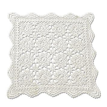 tidetex hecho a mano Crochet tridimensional diseño de flores mantel algodón cuadrado blondas funda para mesa