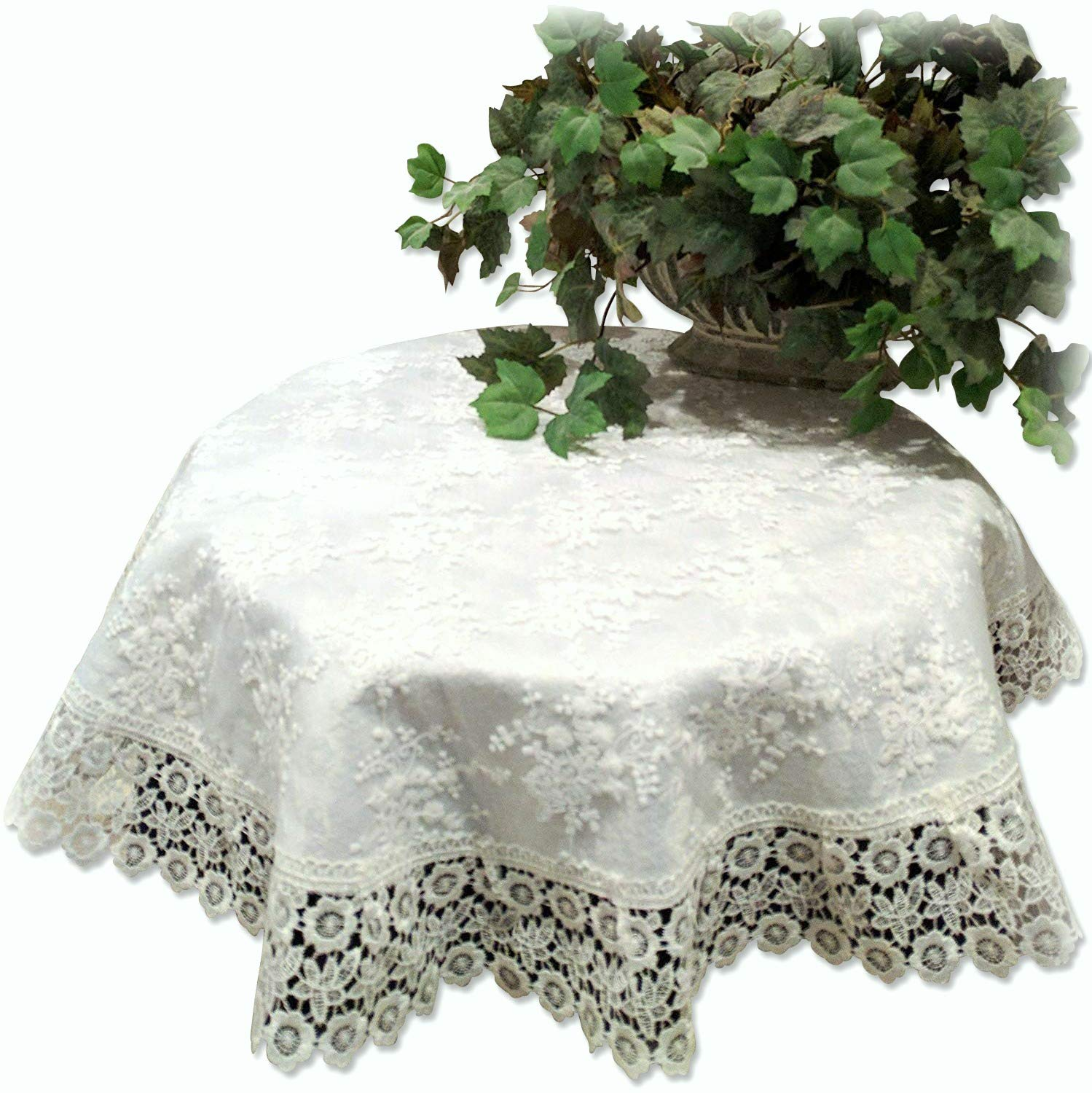 """Galleria di Giovanni 33"""" X-Large Doily Ivory Princess Lace European Dresser Table Scarf Topper Round"""