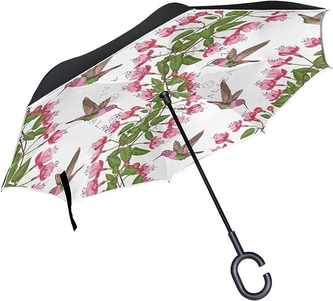 AHOMY Inverted Reverse Umbrella Leaf Flower Windproof for Car Rain Outdoor