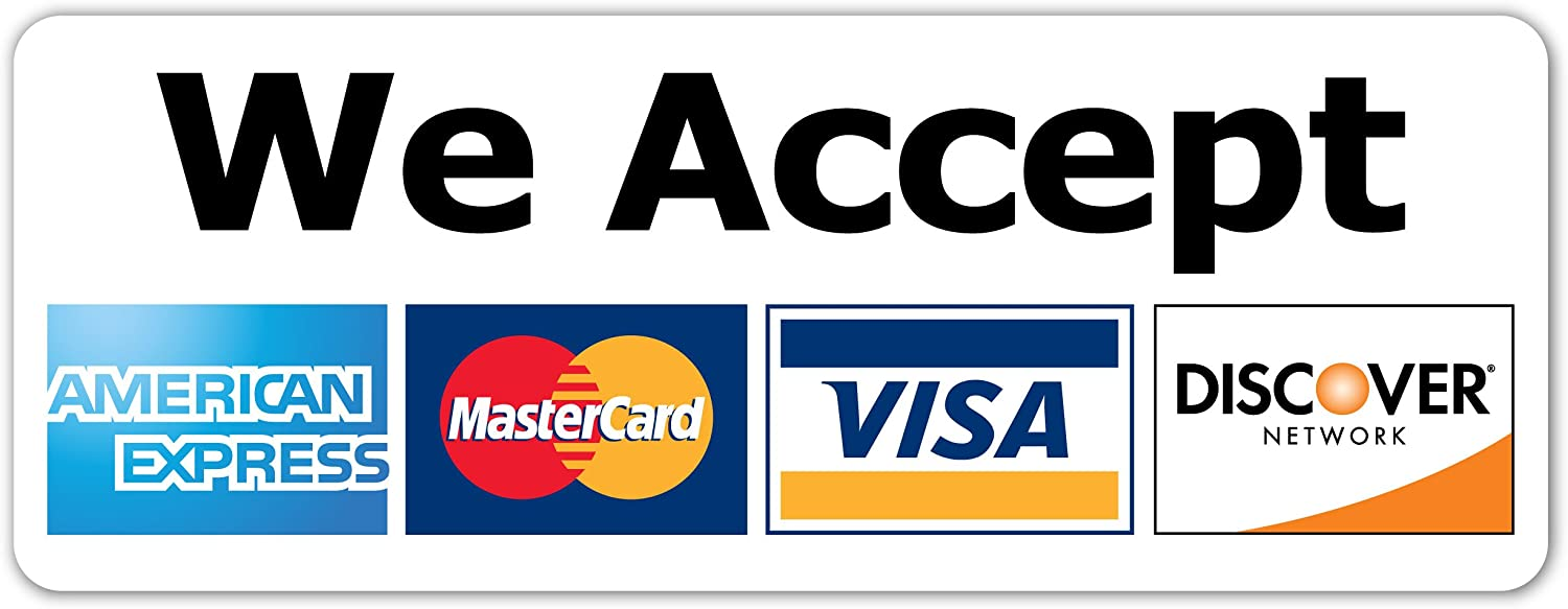 Amazon.com: We Accept Major Credit Cards AmEx MasterCard Visa Discover  Sticker | Store Window, Door, Payments Decal 3x8: Automotive