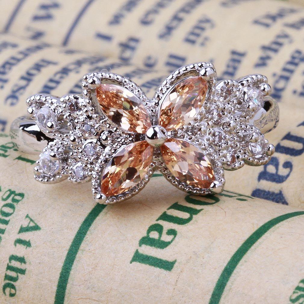 YAZILIND Girls Blooming Champagne Flower Crystal CZ Women Bridal Wedding Band Ring Christmas Gift
