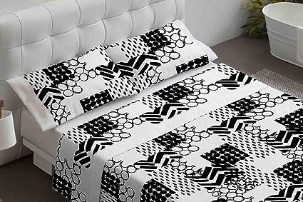 Burrito Blanco Juego de Sábanas 108 Algodón con Diseño Geometrías ...