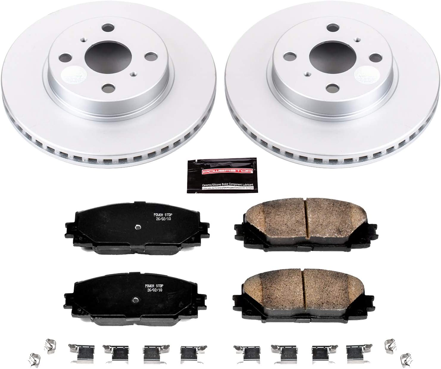 Power Stop CRK4359 Coated Rotor and Ceramic Brake Pads-Front /& Rear