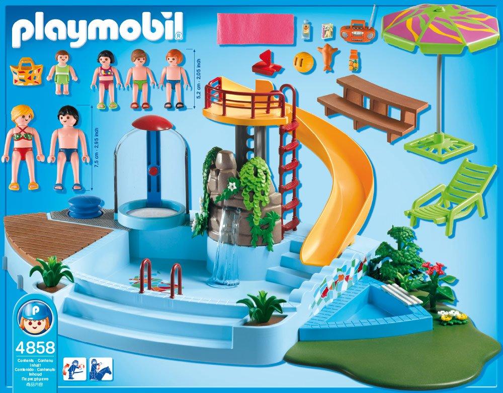 Playmobil    Jeu De Construction  Piscine Avec Toboggan