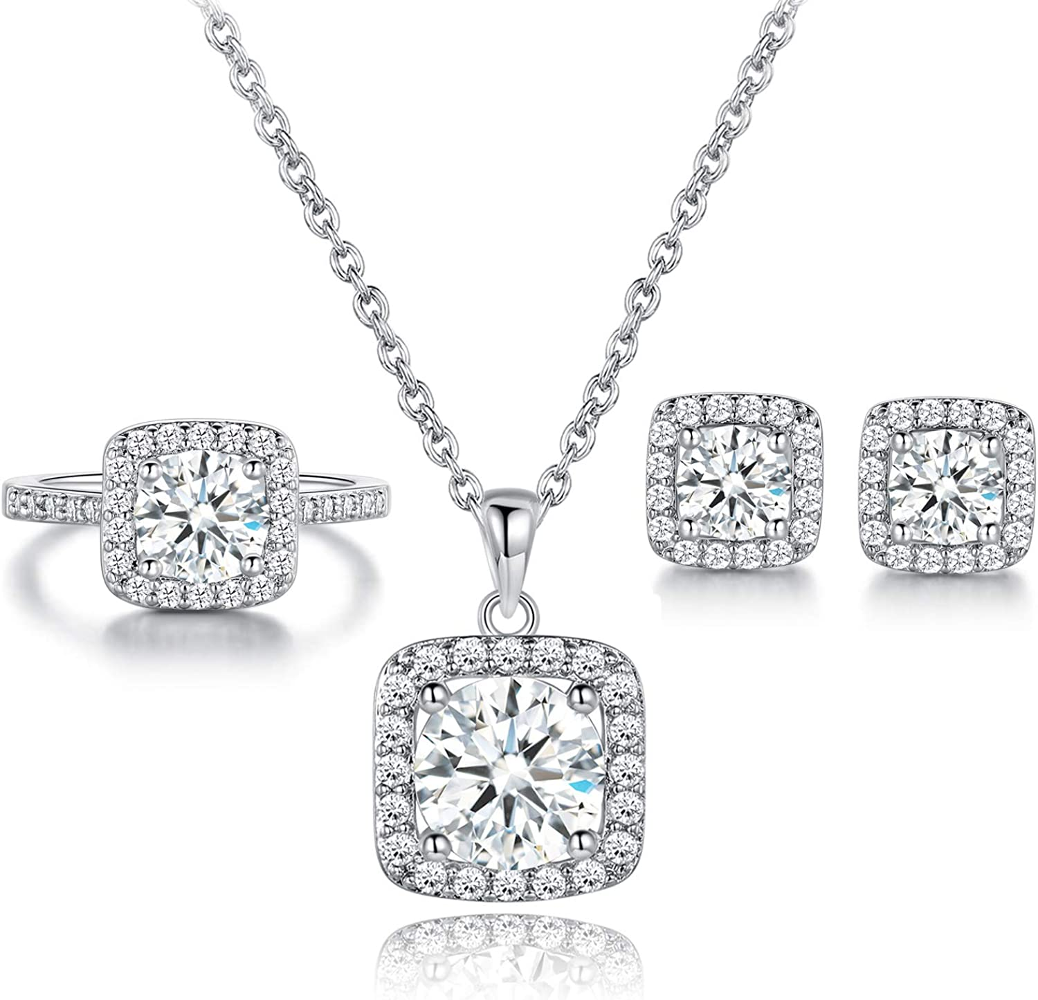 Wedding Bridal 18K Rhodium and Gold-plated Necklace and Earring Set Cubic Zirconia Jewelry Bridesmaid Birthday Anniversary Gift Love