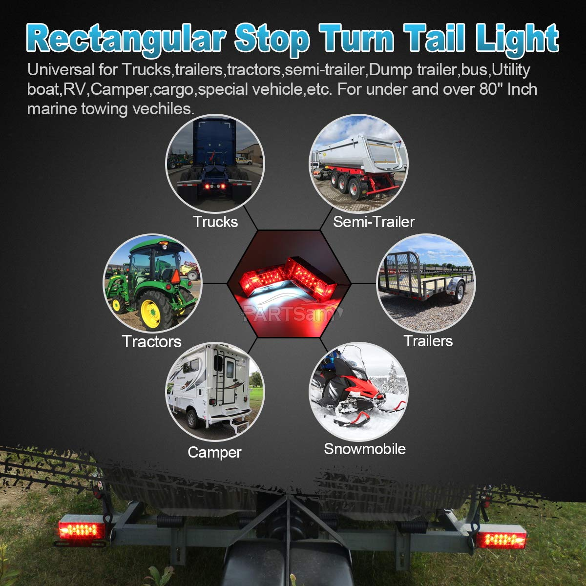 Partsam 12v Led Low Profile Submersible Rectangular Trailer Light Utility Wire Harness Kit Tail Stop Turn Running Lights For