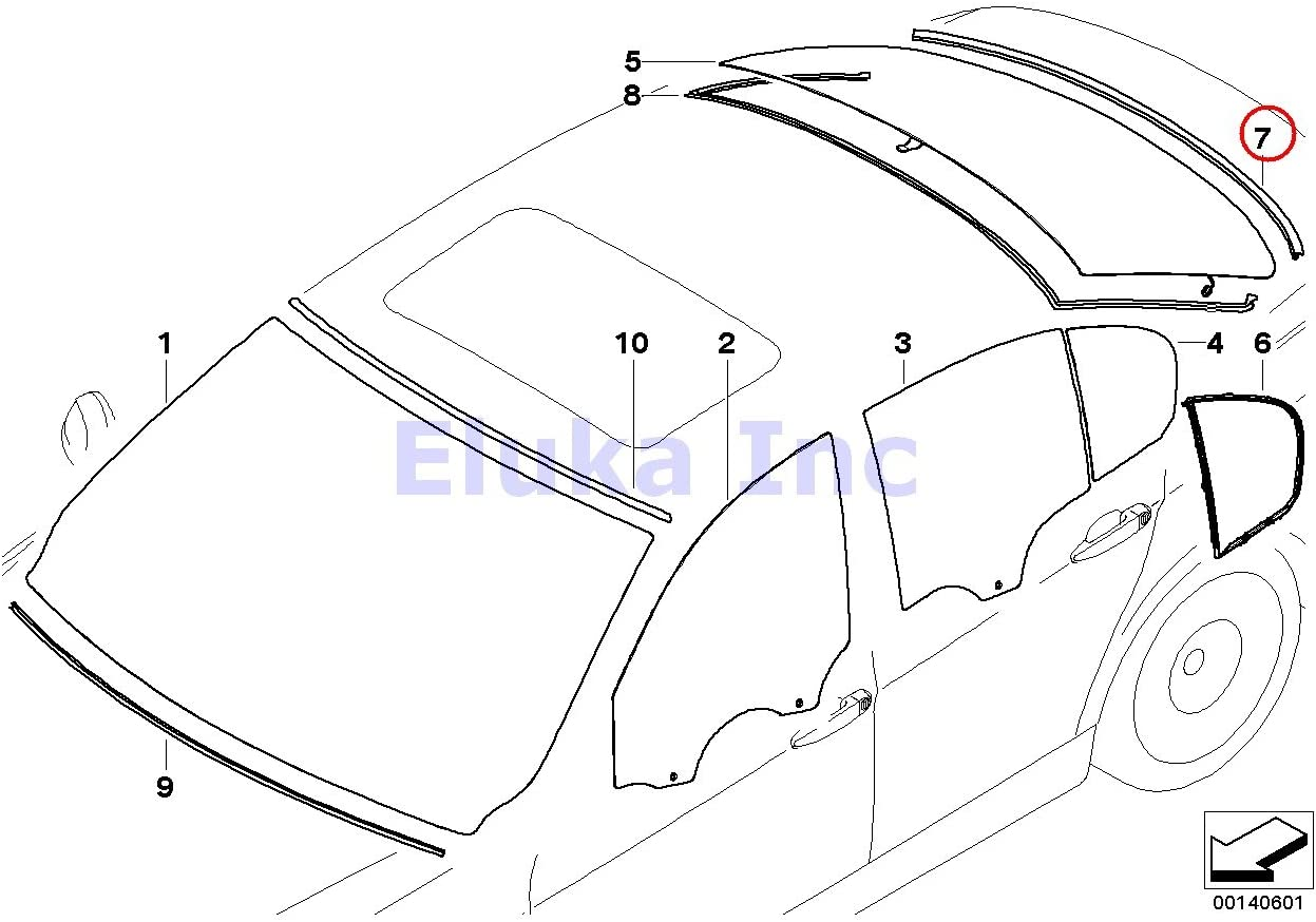 BMW E90 3-Series Genuine Front Windshield Upper Moulding Seal 325i 330i 335i NEW