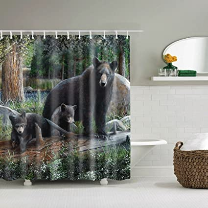 BD RWEUEQ The Black Bear Shower Curtains Impermeable Ground Of Family Protection Environment