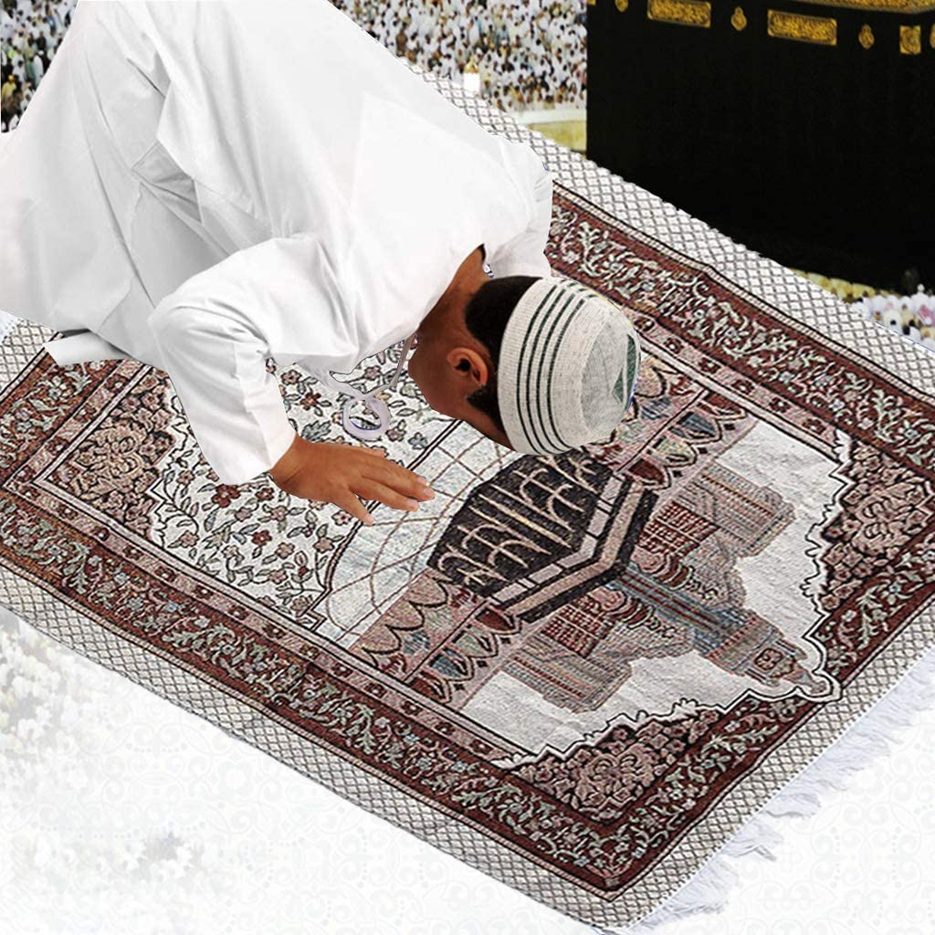 vokee Muslim Prayer Mat 1Set Muslim Prayer Rug Portable Polyester Braided Print Mat Travel Home Waterproof Blanket with Carrying Bag 65x105CM