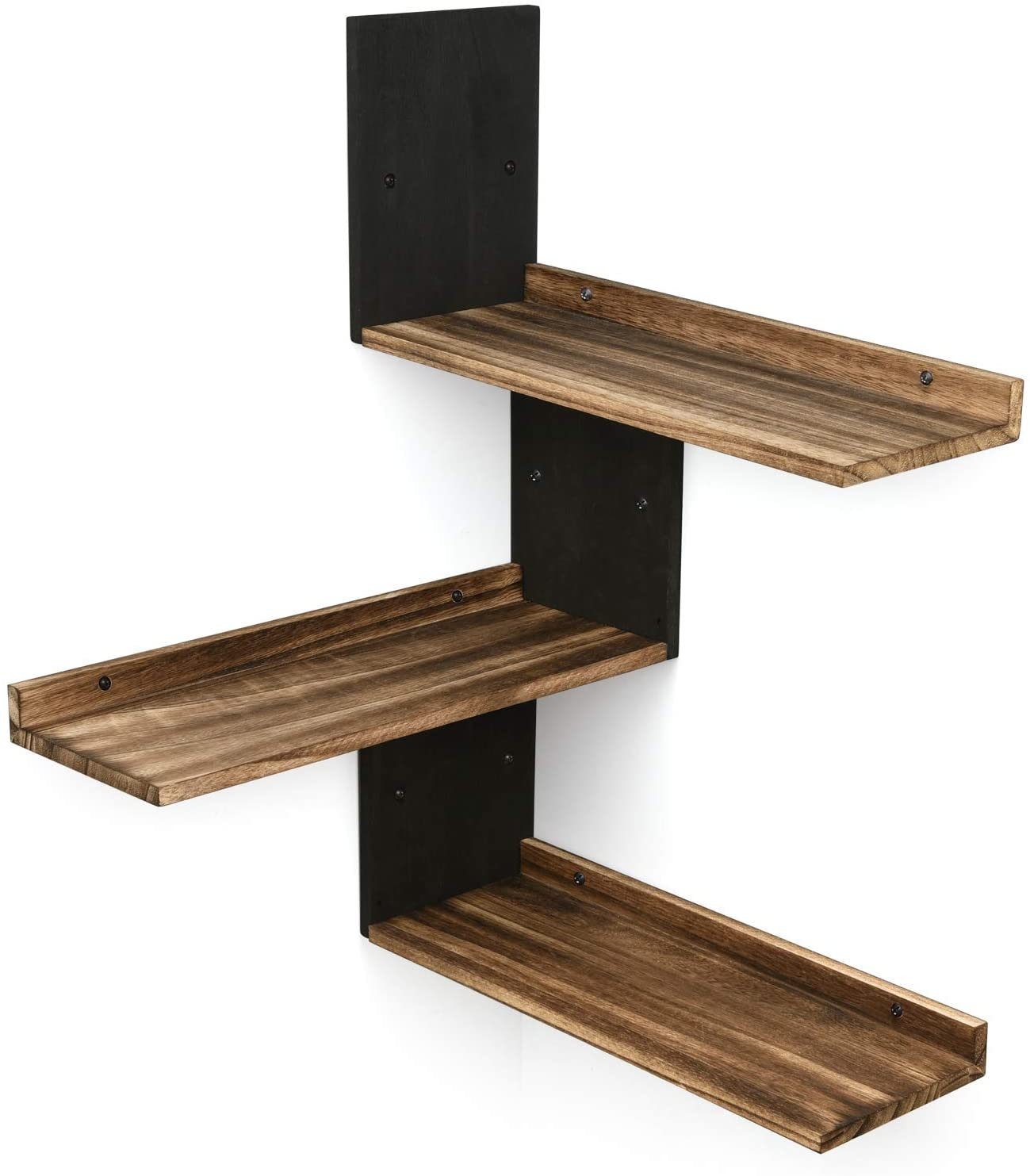 Miratino Corner Wall Shelves Rustic Wood Corner Floating Shelves for Bedroom Living Room Bathroom Kitchen Set of 3 Assorted Color Black & Brown: Kitchen & Dining