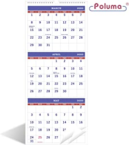 "2020-2021 Calendar - 3-Month Calendar(Need to Open for 3-Months Display), 11"" x 26"", Vertical Calendar with Thick Paper, Perfect for Organizing & Planning, April 2020 - June 2021, Wirebound - Poluma"