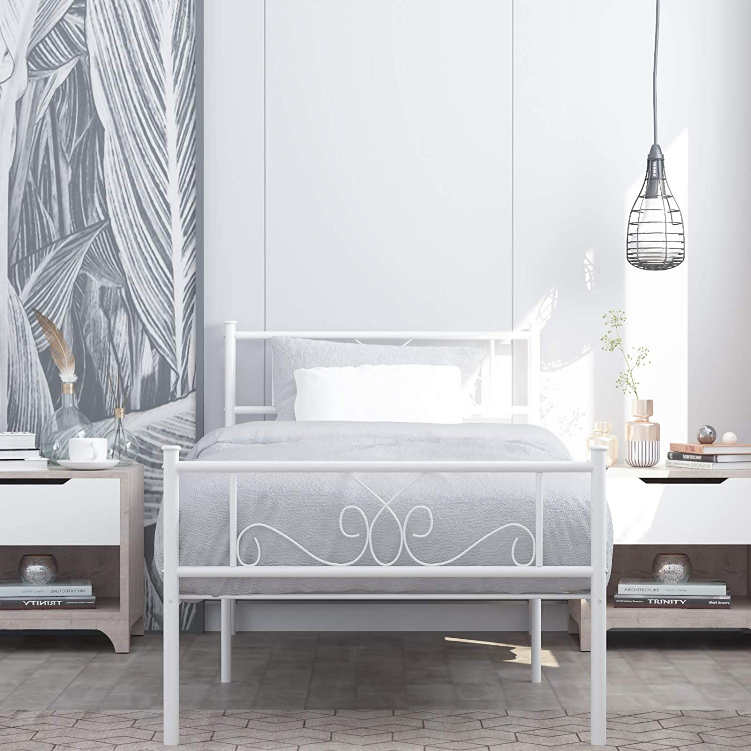 Simplify Metal Twin Bed with Storage Solid Steel Legs Great for Boys and Girls
