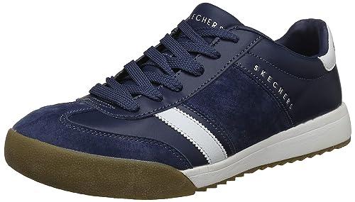 no usado evidencia analogía  Buy Skechers Men's Zinger Scobie Navy Leather Sneakers-7 UK (8 US)  (52322-NVY) at Amazon.in