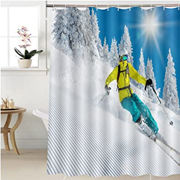 Gzhihine Shower Curtain Freeride In Fresh Powder Snow Skiing Bathroom Accessories 60 X 78 Inches