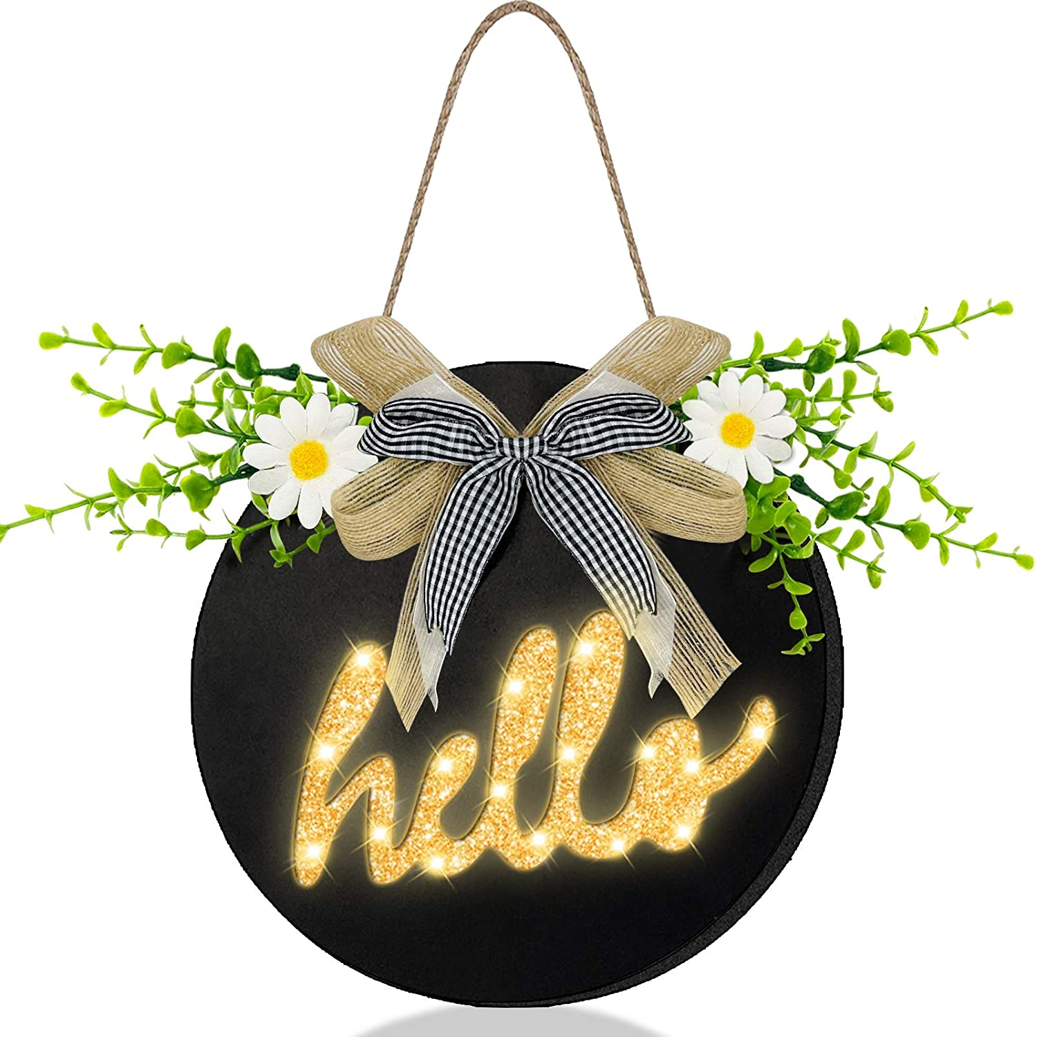 TURNMEON Prelit Hello Welcome Wreath Sign with Timer for Front Door Porch Decor Hanging Round Wooden Sign Spring Summer Wreath Farmhouse Outdoor Home Wall Decoration Housewarming Gift