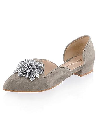 sneakers for cheap 259e2 0d96e Alba Moda Damen Ballerina mit Lederapplikation in Blütenform ...