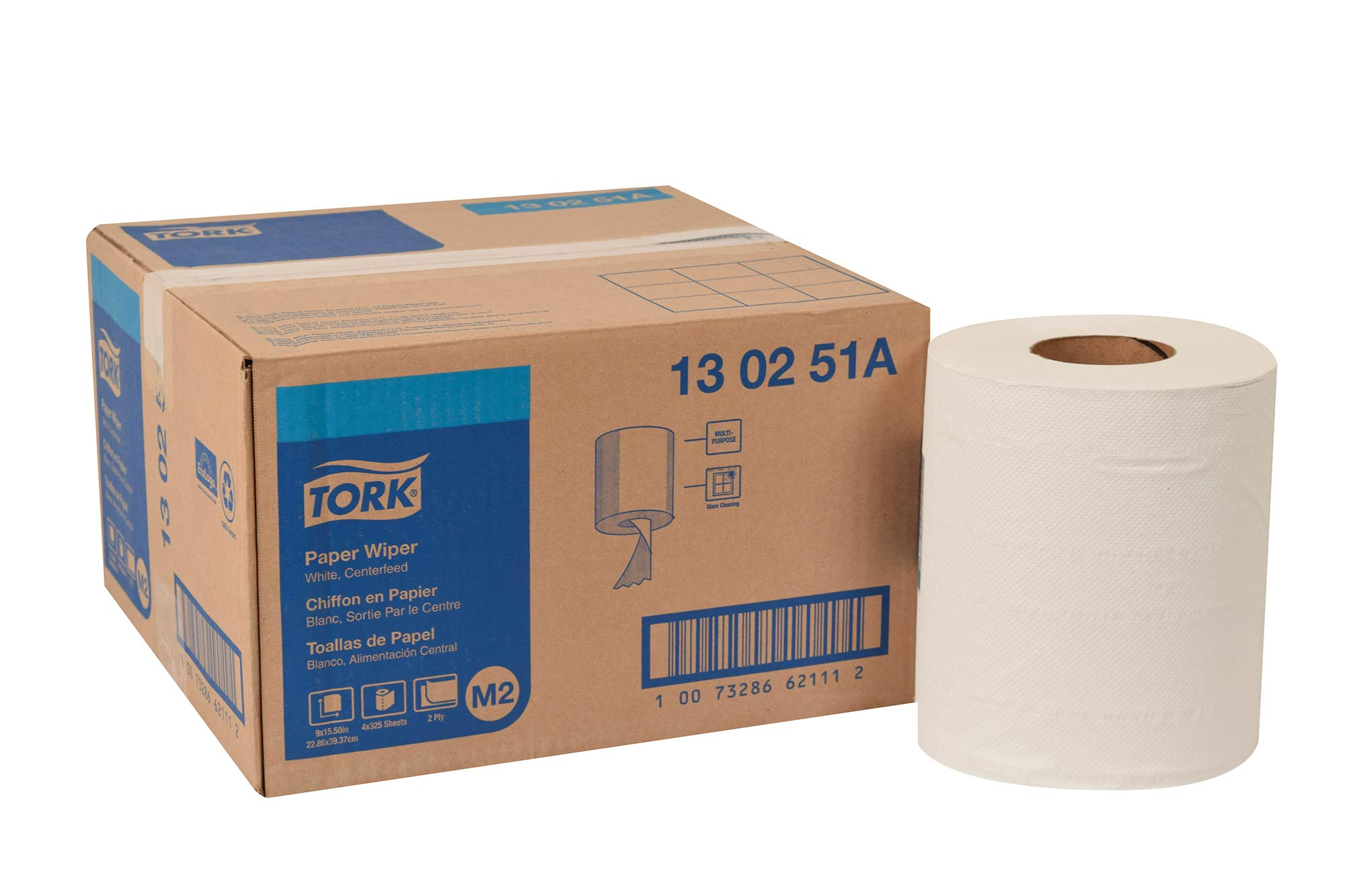 Tork 130251A Paper Wiper, Centerfeed, 2-Ply, 9.00'' Width x 419' Length, White (Case of 4 Rolls, 325 per Roll, 1,300 Wipers per Case) For use with Tork 659020 or 653028
